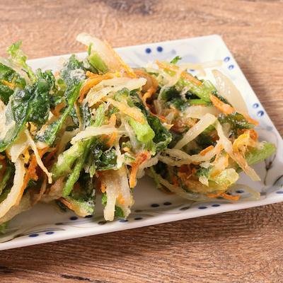 空心菜と玉ねぎのかき揚げ