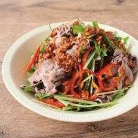 水菜と牛肉のピリ辛サラダ