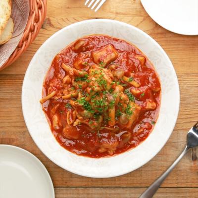 鶏もも肉としめじのトマト煮