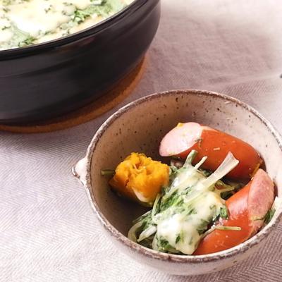 ウインナーと水菜のミルクチーズ鍋