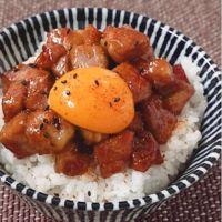 コロコロ豚肉の甘辛豚丼