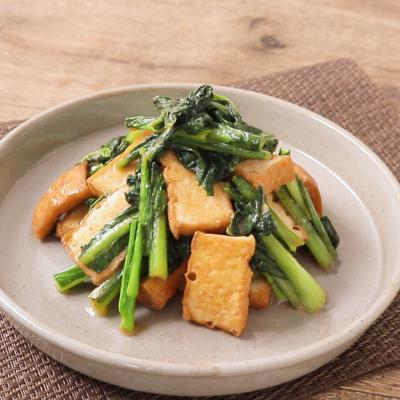 厚揚げと小松菜のからし炒め