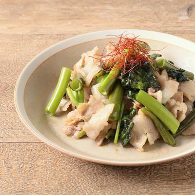 空心菜と豚肉のガーリック炒め