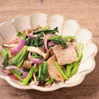 豚バラ肉と小松菜のレモンペッパー炒め