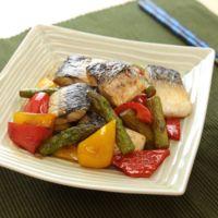 塩サバと彩り野菜のポン酢炒め