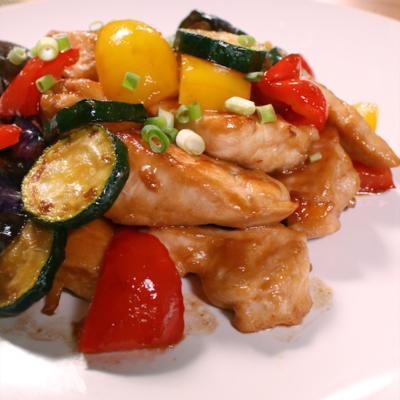 鶏むね肉と夏野菜のオイスターソース炒め
