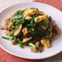 卵入り豚バラ肉と茄子の簡単みそ炒め