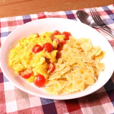 ふんわり!トマトと卵のリボンパスタ