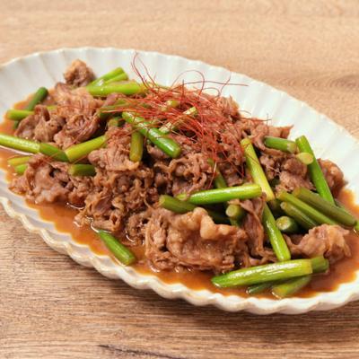 牛肉とニンニクの芽のレンチン煮