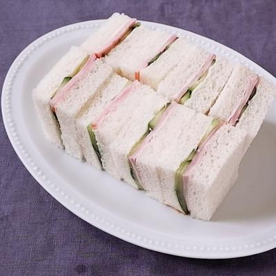 ハムときゅうりのサンドイッチ