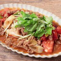 三つ葉香る トマトと豚肉の和風炒め
