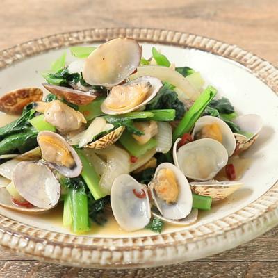小松菜とアサリの蒸し炒め