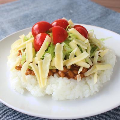 納豆で簡単 タコライス風