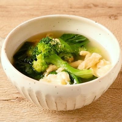 ほうれん草とブロッコリーの卵スープ