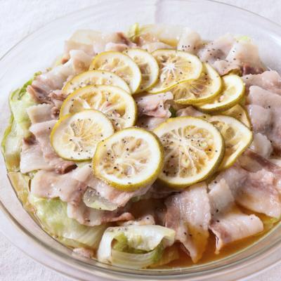かぼす香る 豚肉とレタスのレンジ蒸し