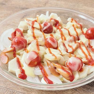 レンジで簡単おかず 里芋とトマトのケチャップチーズ蒸し
