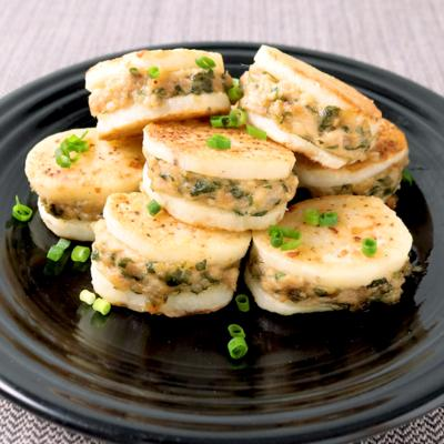 長芋と鶏ひき肉のはさみ焼き