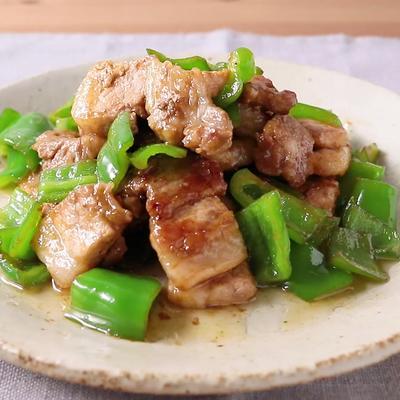 ピーマンと厚切り豚バラ肉のわさび醤油炒め