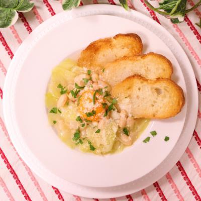 白インゲン豆とキャベツのスープ