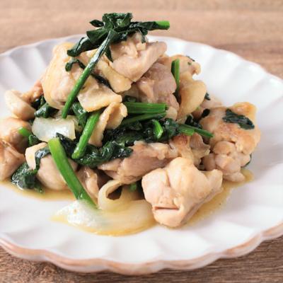 鶏肉とほうれん草の柚子胡椒炒め