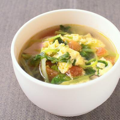 トマトと三つ葉のかきたまスープ