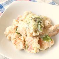 鶏むね肉とレタスのクリームチーズソース煮