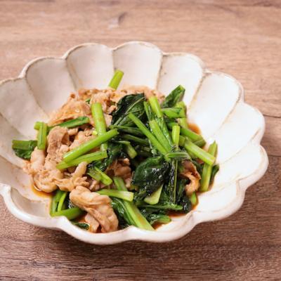 小松菜と豚バラ肉のピリ辛炒め