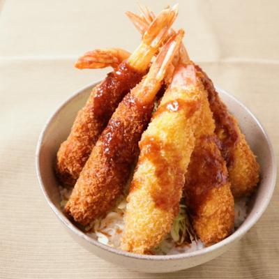 ガッツリ エビフライソース丼