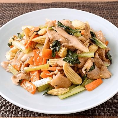 小松菜と豚こま切れ肉の中華風炒め