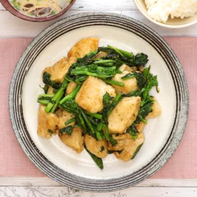 鶏肉と菜の花のオイスター炒め