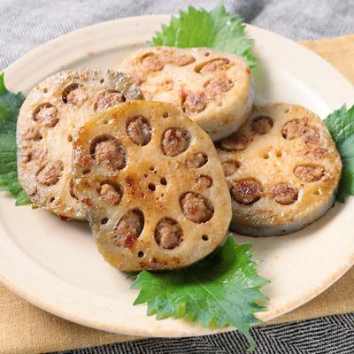 肉詰めレンコンの生姜焼き