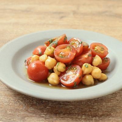 ミニトマトとひよこ豆の大葉和え