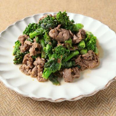 菜の花と牛肉のマスタード炒め