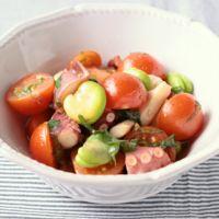 そら豆とタコとトマトのマリネ