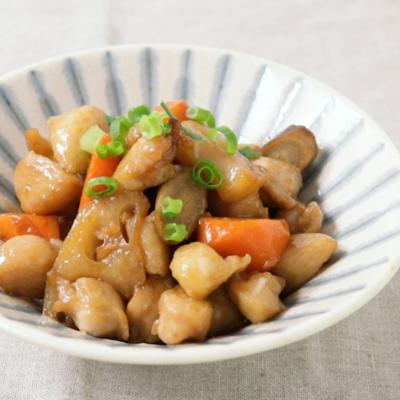 ぼんじりと根菜の甘辛炒め