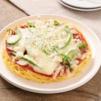 フライパンで簡単!スパゲティピザ