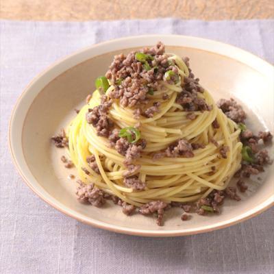 ひき肉と青唐辛子のペペロンチーノパスタ