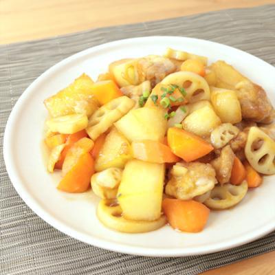 冬瓜と根菜の黒酢炒め