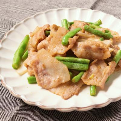 豚バラ肉といんげんのゆず胡椒みそ炒め