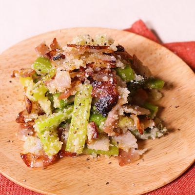 レンジで温野菜!アスパラとベーコンのチーズサラダ