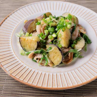 水菜とナスの白みそ炒め
