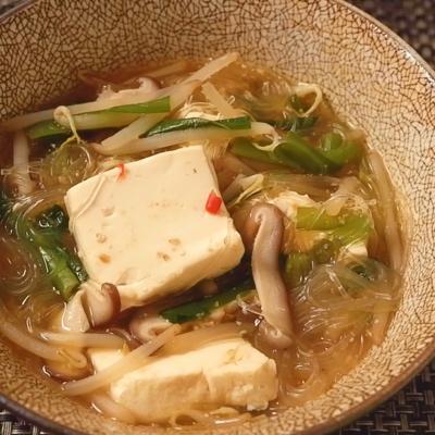 豆腐ともやしのごま味噌スープ春雨