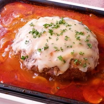 ホットプレートで トマト煮込みハンバーグ