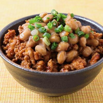 ラー油でピリ辛ひき肉の納豆ご飯
