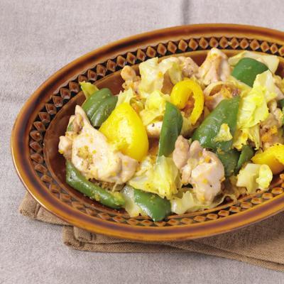 鶏肉と彩り野菜のからすみ炒め