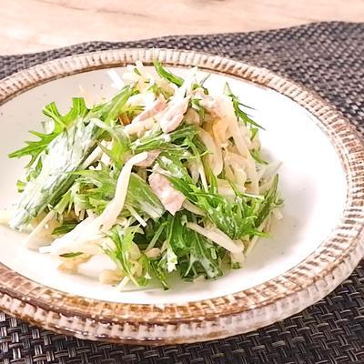 もやしと水菜のツナマヨポン酢サラダ