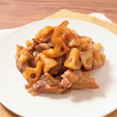 レンコンと豚肉のバルサミコ酢炒め