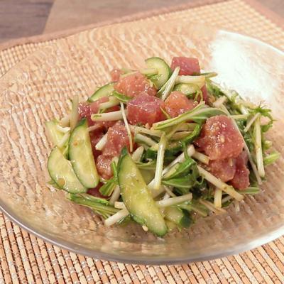 水菜とマグロのゆず胡椒ドレッシングサラダ