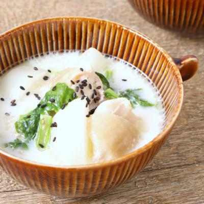カブとチキンのクリーミー塩麹スープ
