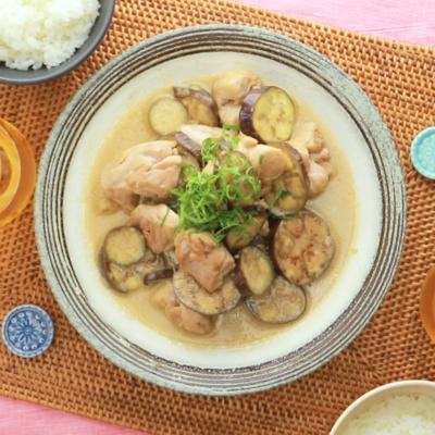 鶏もも肉とナスのマヨポン炒め